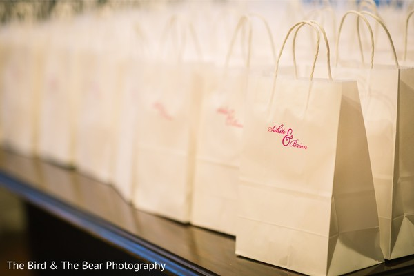 Details of the favors for the Indian wedding guests at the venue.