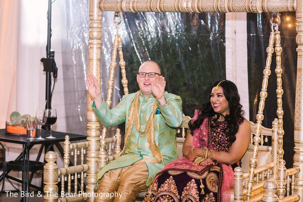 Indian groom reacting the speeches with Maharani.