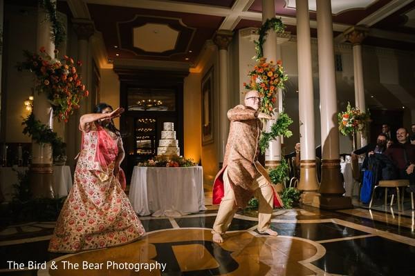 Raja and Maharani dancing during the Indian wedding reception.