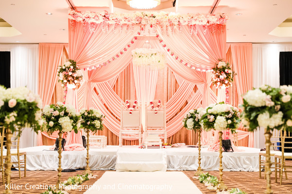 Hindu wedding altar decorated with flowers.
