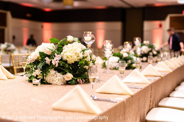 Table arrangement with flower centers.