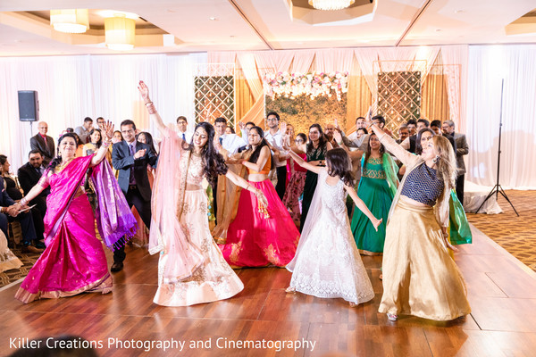 Indian bridesmaids performing in Sangeet.