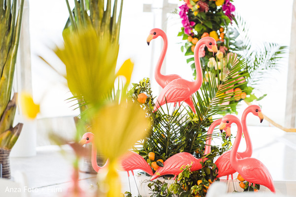 Indian wedding Flamingos and flowers decorations.