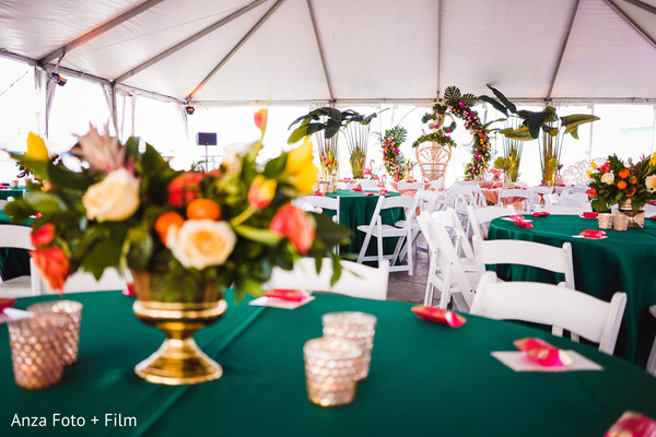Indian wedding  white, green, yellow and orange decoration.
