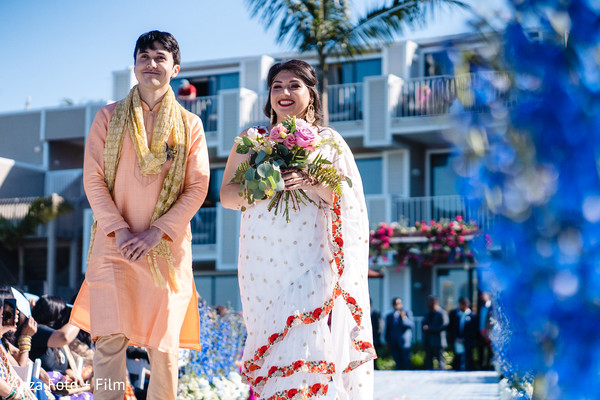 Indian bridesmaid and groomsmen on their ceremony fashion.