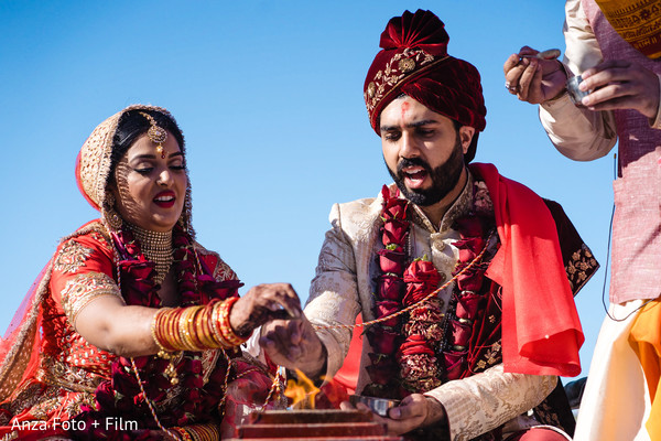 Indian couple during the traditional AgniPooja rituals.