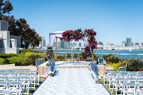 Outdoors Indian wedding ceremony setup.