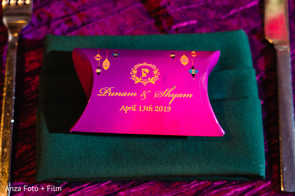 Indian wedding reception personalized favor box.