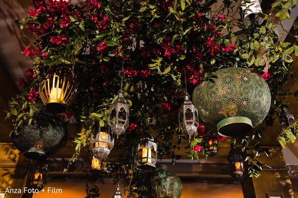 Indian wedding Hanging metal lanterns decorations.