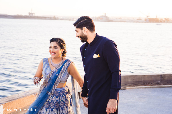 Blue color Indian couple pre-wedding outfits.