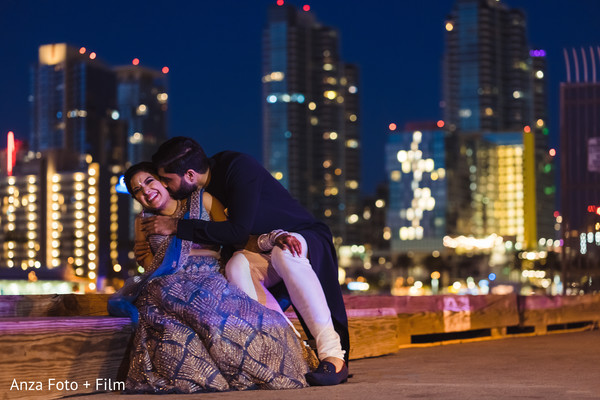 Indian couples outdoors by night photo session.