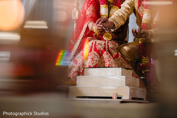 Indian bride and groom during the Indian wedding ceremonies.