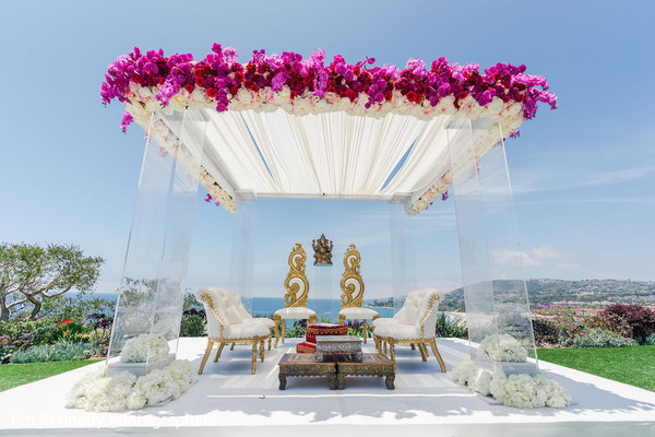 Flower decorated Indian wedding altar.