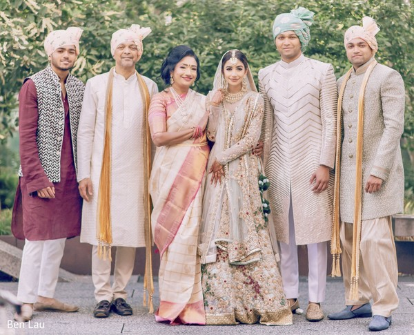Indian newlyweds with family after the Indian wedding ceremony.