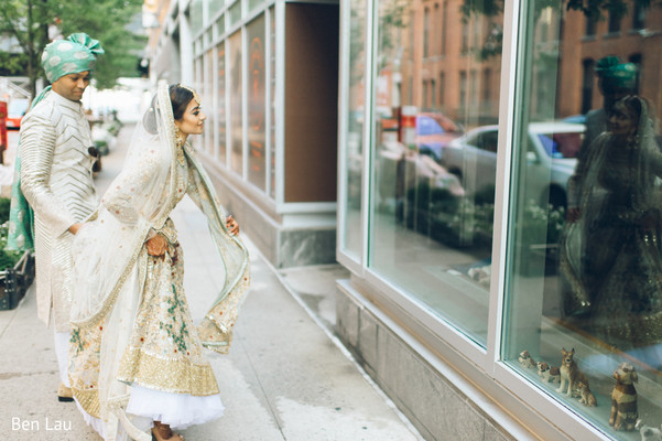 Indian bride and Raja during their street photoshoot.