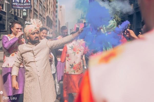 Color smoke during the Indian wedding Baraat celebration.