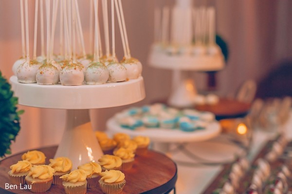 Sweets and treats table for the Indian wedding reception.