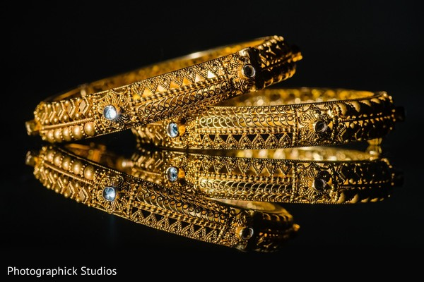 Yellow gold Indian bridal ceremony bangles.