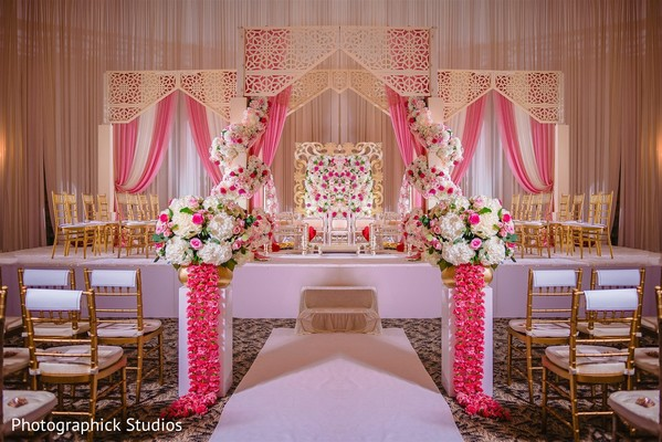White and pink Indian wedding ceremony flowers decorations.