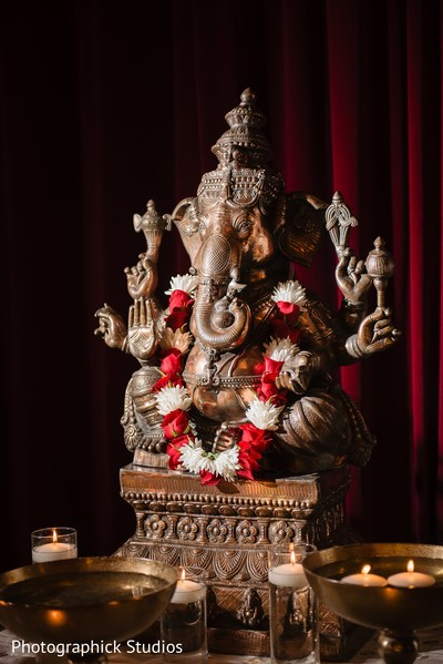 Bronze Ganesha Puja God decoration for Indian wedding.