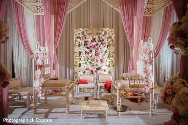 Cream, white and rose color for Indian wedding mandap.