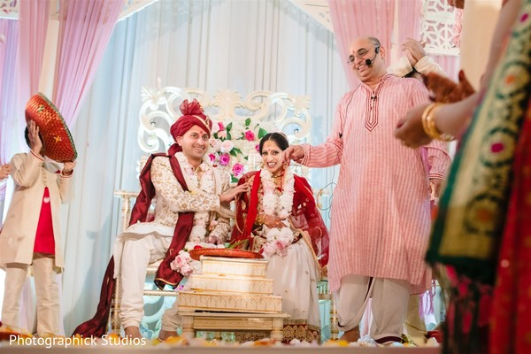 Indian couple at their wedding ceremony rituals.