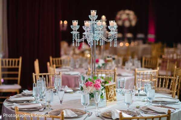Crystal candle holder for Indian wedding table centerpiece decor.