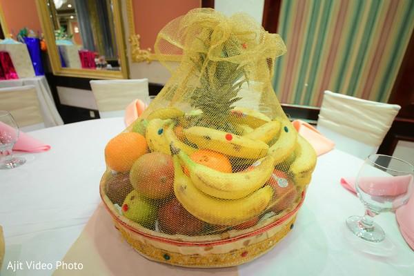 Indian engagement tropical fruit basket for table centerpiece.
