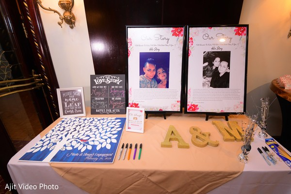 Indian engagement guest book table decor.