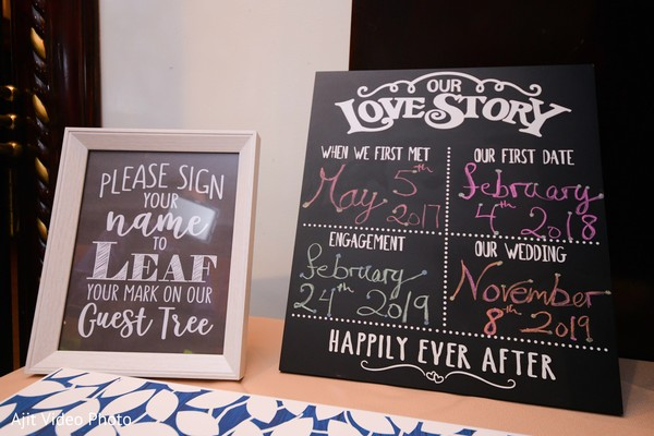 Indian wedding love story sign and guest book sign.