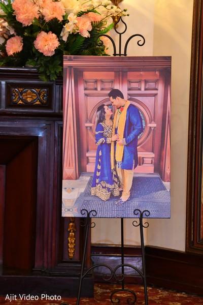 Indian couple on a portrait for engagement party decoration.