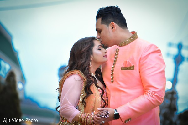 Indian lovebirds engagement fashion look.