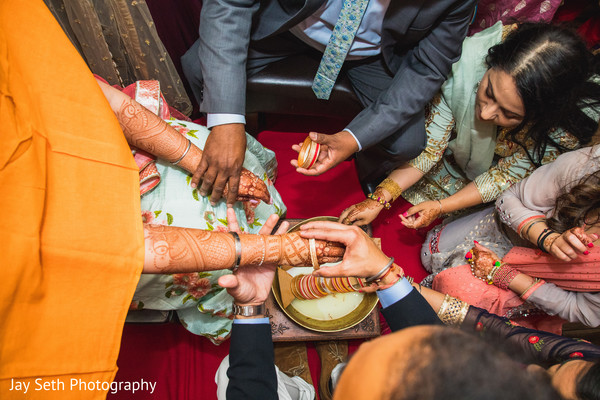 Indian bride during her Mehndi party,