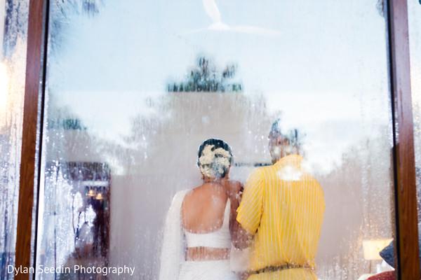 Capture of Maharani's bridal saree back design.
