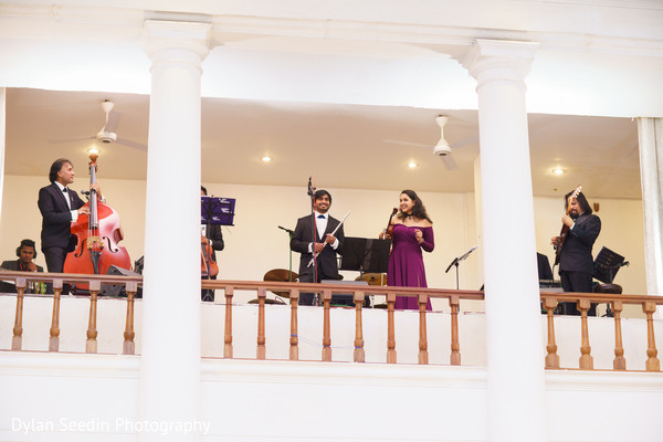 Live musicians performing for the Indian newlyweds.