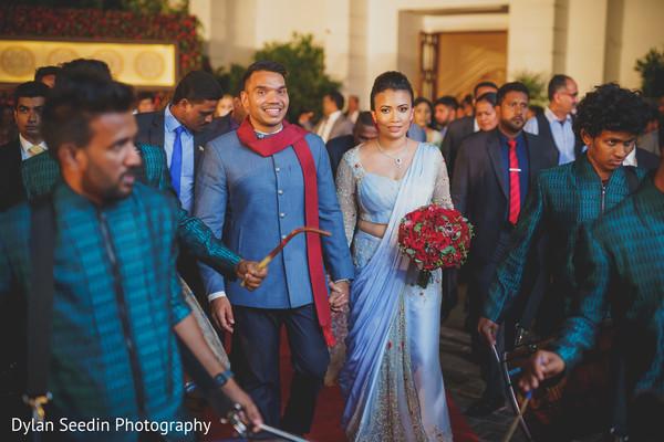 Maharani wearing the reception light blue saree.