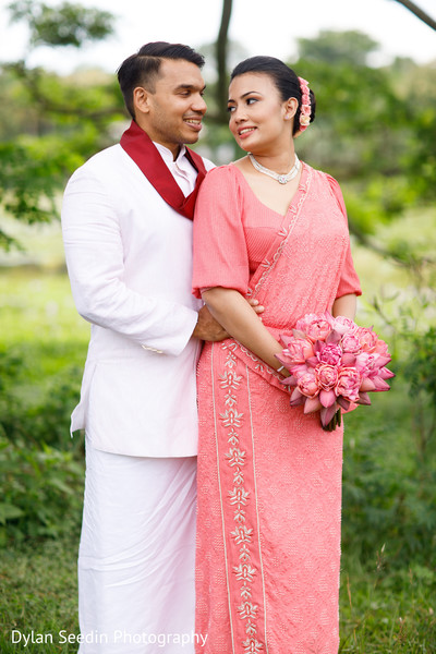 Maharani and Indian groom posing during the outdoor photoshoot.