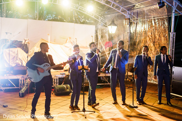 Moments of the Indian wedding reception bash onstage.