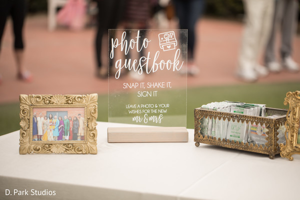 Crystal clear Indian wedding photo guest book sign.