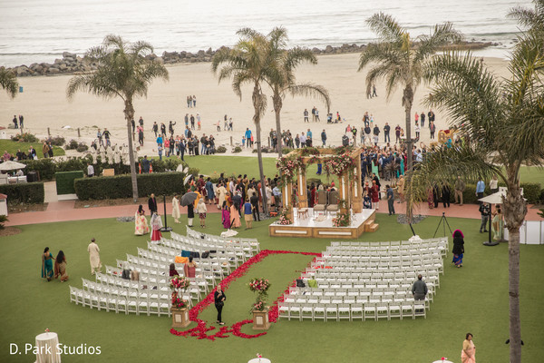 Indian wedding ceremony by the beach.