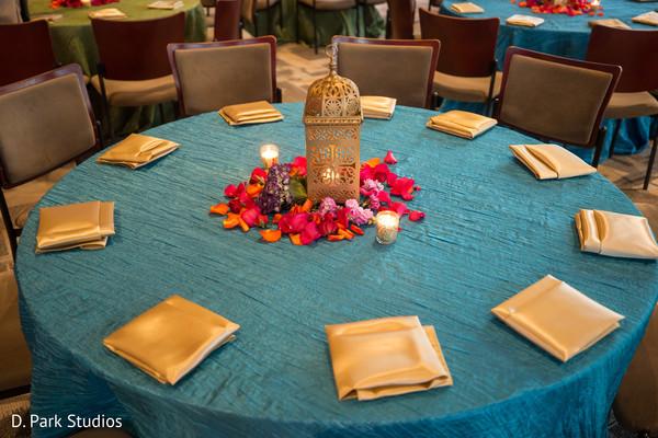 Sangeet tablecloth coral blue decoration.