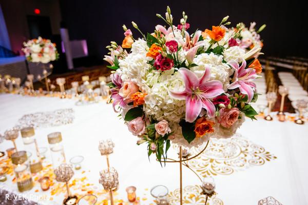 Floral arrangement decor details of the venue.