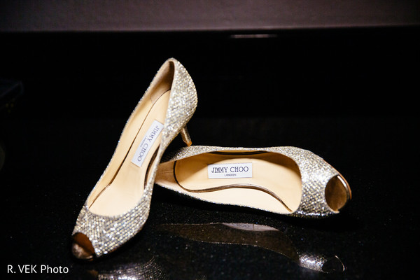 Indian bride's shoes on display for pictures.