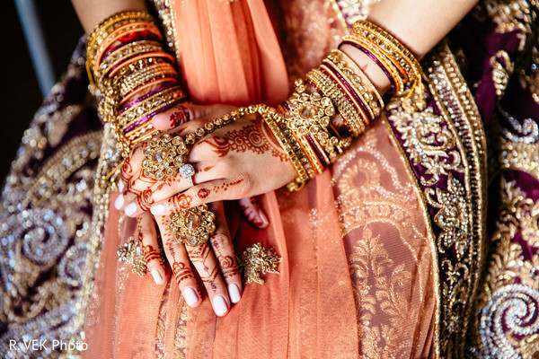 Indian bride's jewelry and henna art designs.