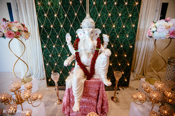 Statue of Ganesha at the Indian wedding venue.