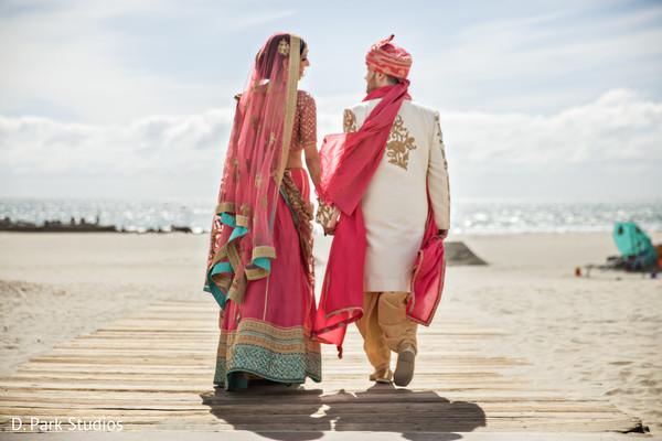 Maharani and rajah on their pink lehenga and sherwani.