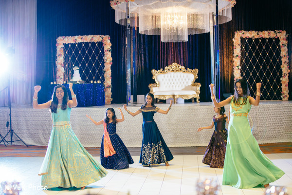 Indian Maharanis performing a choreography for the newlyweds.