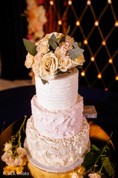Close up capture of the Indian wedding cake design.