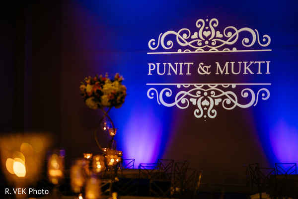 Indian couple's names on display during the reception.