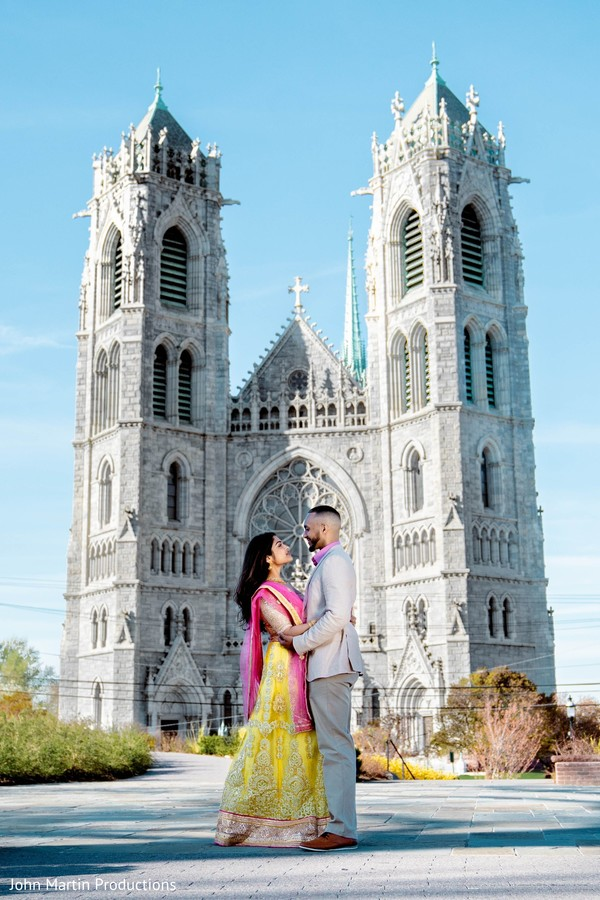 Maharani and her groom in front of the cathedral.
